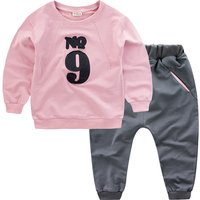 2-piece Number Applique Long-sleeve Top and Pants for Baby Girl/Girl
