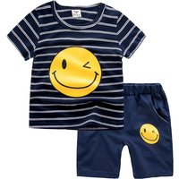 Stylish Striped Smiley Print Short-sleeve T-shirt and Shorts Set for Toddler Boy and Boy