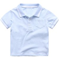 Trendy Short-sleeve Solid Polo Tee for Toddler Boy