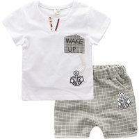 2-piece Handsome Anchor Print Short-sleeve Tee and Plaid Shorts for Baby Boys