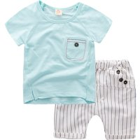 2-piece Short Sleeves Top and Striped Pants Set for Baby Boy