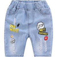 Stylish Frayed Letter Print Denim Shorts in Blue for Toddler Boy and Boy