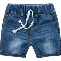 Stylish Solid Drawstring Denim Shorts in Blue for Toddler Boy and Boy