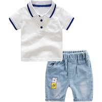 Toddler Boy's White Short-sleeve Polo Shirt and Denim Shorts Set