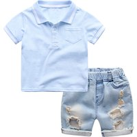 Chic Short-sleeve Polo Shirt and Ripped Denim Shorts Set for Toddler Boy