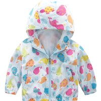 Toddler Girl's Colorful Whale Pattern Hooded Coat