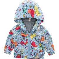 Lovely Allover Dinosaur Patterned  Hooded Coat for Baby Boy and Boy