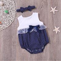 Trendy Polka Dots Bowknot Decor Sleeveless Bodysuit and Headband Set for Baby Girl