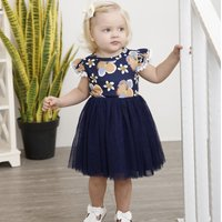 Trendy Floral Ruffle-sleeve Tulle Dress for Baby and Toddler Girl