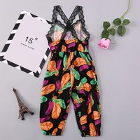 Trendy Lace Splicing Feather Patterned Overall