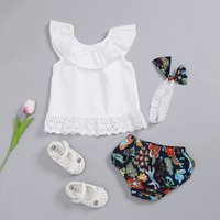 Baby Girl's Flounce White Top Floral Shorts and Headband Set