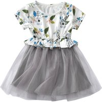 Pretty Flower Print Short Sleeves Tulle Dress for Toddler Girl