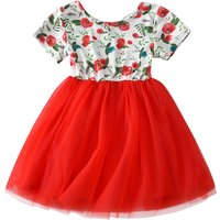 Pretty Floral Tulle Splicing Short-sleeve Dress fro Baby and Toddler Girl