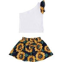Sweet One Shoulder Top and Sunflower Skirt Set for Toddler Girl