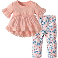 Pretty Solid Short-sleeve Top and Floral Pants Set for Baby Girl
