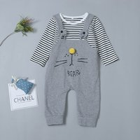 Casual Striped Long-sleeve Top and Animal Print Suspender Pants Set