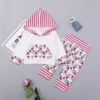 Pretty Hooded Floral print Stripe Hoodie and Pants Set for Baby