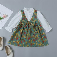 Stylish Bow Decor Flounced Design Puff-sleeve Faux-two Flower Allover Dress