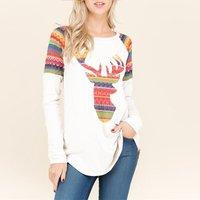 Trendy Elk Print Long-sleeve Contrast Top
