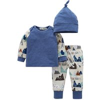 3-piece Cool Print Long Sleeve Top, Pants and Hats Set for Baby