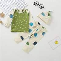 3-piece Cute Cross and Polka Dots Print Long-sleeve Shirt, Pants and Hat for Newborn/Baby