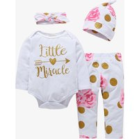 4-piece Sequin Polka Dots and Floral Print Bodysuit, Pants, Hat and Headband for Baby Girl