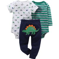 3-piece Cool Dinosaur Bodysuit and Pants Set in Green