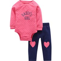 Sweet Printed Long-sleeve Bodysuit and Appliqued Pants Set for Baby Girl