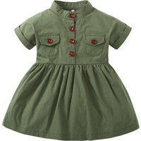 Cool High Neck Short-sleeve Dress in Green for Baby Girl