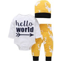 3-piece Lovely Letter Bodysuit and Pants and Hat Set for Baby Boy