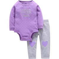Super Cute Love Print Long-sleeve Bodysuit and Pants Set for Baby Girls