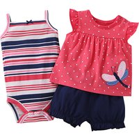 3-piece Striped Sleeveless Romper Polka Dotted Tee and Shorts Set for Baby Girl