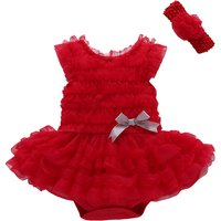 2-piece Solid Bowknot Decor Ruffled Romper and Headband for Baby Girl