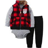 3-piece Plaid Coat Long-sleeve Romper and Pants for Baby and Toddler Boys