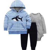 Baby Boy's Shark Print Hooded Striped Long-sleeve Coat Bodysuit and Pants Set