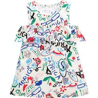 Stylish Doodle Design Ruffled Dress for Baby Girl