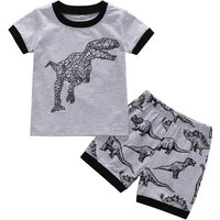Cool Dinosaur Print Short-sleeve Tee and Shorts in Grey for Toddler Boy and Boy