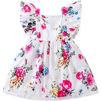 Pretty Floral Ruffled Cap-sleeve Dress for Baby and Toddler Girl