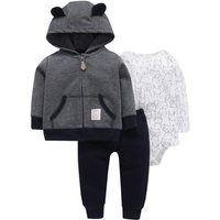 3-piece Comfy Animal Patterned Long-sleeve Romper, Pants and Hooded Coat Set for Baby Boy