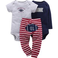 3-piece Comfy Rugby Print Short-sleeve Romper and Striped Pants Set for Baby Boy