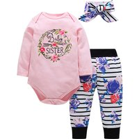 3-piece Pretty Flower Print Long-sleeve Romper, Striped Pants and Headband Set for Baby Girl