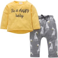 Casual Letter Embroidered Long-sleeve Top and Giraffe Patterned Pants Set for Baby Boy