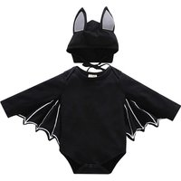 2-piece Stylish Bat Design Long-sleeve Romper and Hat Set for Baby Boy