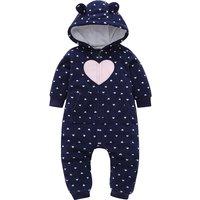 Warm Allover Heart Polar Fleece Hooded Jumpsuit for Baby Girl