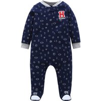 Sporty Number Print Embroidered Footed Jumpsuit for Baby