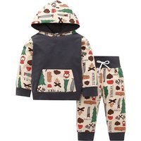 2-piece Cartoon Graphic Patterned Pullover and Pants Set