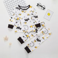 2-piece Casual Excavator Patterned Top and Pants Set