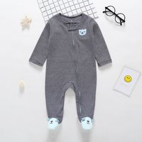 Stylish Bear Embroidered Striped Footie Jumpsuit for Baby
