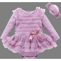Trendy Solid Tulle Skirt Bodysuit with Headband  for Baby
