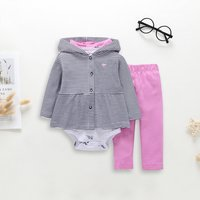 Casual Striped Hooded Coat, Allover Cartoon Bodysuit and Pants Set
